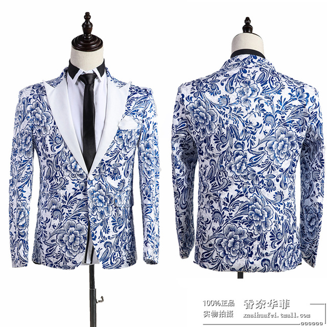(jacket+pants)male suit set wedding singer trousers performance show nightclub Blazer Outdoors Slim wear party casual prom bar
