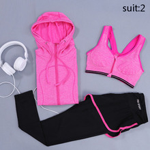 Brand 3PCS Tracksuit Zipper Wire Free Shockproof Sports Bra Running Fitness Yoga Leggings Gym Exercise Hoodies Women Yoga Sets