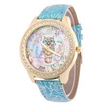Relojes de pulsera!! de Las Mujeres elegantes Relojes de Moda Las Mujeres Viste el Reloj de Diamantes de Cuero Búho Historieta de la Señora Mira el Reloj 2017 Caliente