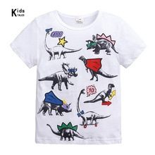 Summer 2019 Baby Boys Girls T Shirt Cartoon Dinosaur Print Short Sleeve Cotton Tops Tees T Shirt For Kids Children Clothes roblox letter children t shirt glow in the dark luminous kids summer clothes game t shirt for boys girls tops tees casual cotton