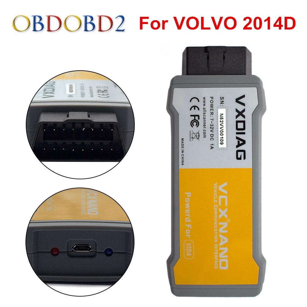 Original VXDIAG VCX NANO 2014 D For Volvo Car Diagnostic Tool Better Than Vdia Dice Multi-language Free Shipping vxdiag vcx nano car diagnostic tool for gm gds2