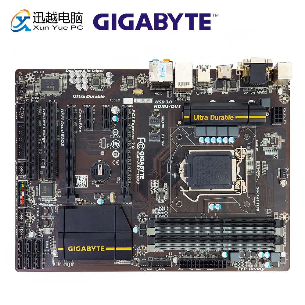 все цены на Gigabyte GA-Z87-HD3 Desktop Motherboard Z87-HD3 Z87 LGA 1150 i3 i5 i7 DDR3 32G SATA3 USB3.0 VGA DVI ATX онлайн