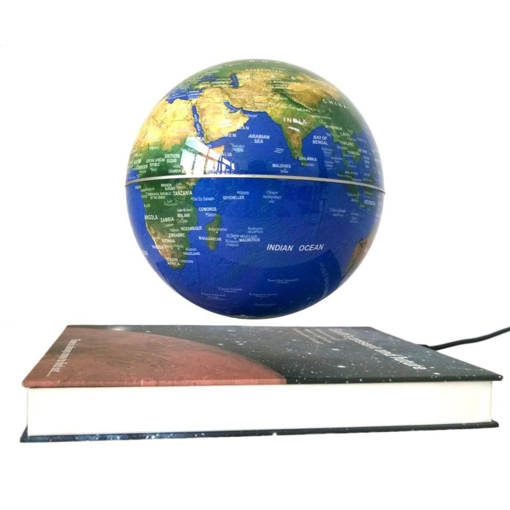 6 Magnetic Rotating Globe Anti-Gravity Floating Levitating Earth 360-degree Rotating For Desktop Office Home Decor Blue Color