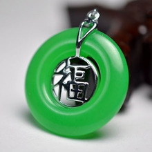 New Design Style green Jade silver Blessing Unisex Pendant & Necklace+Free chain