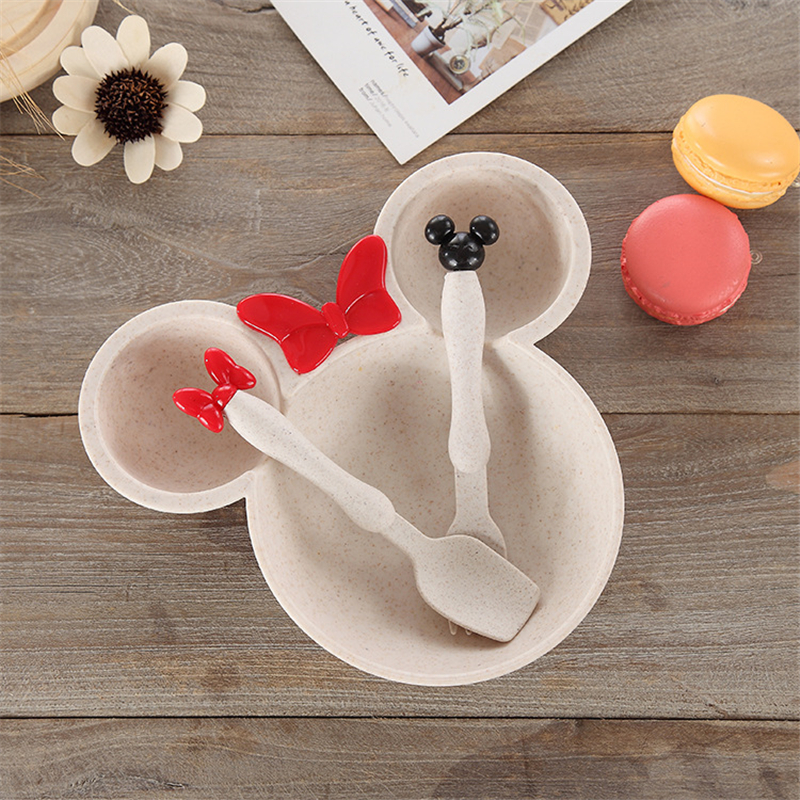 3 Pcs Children Baby Bamboo Tableware Solid Feeding Mickey Dishes Baby Bowl Plate Food Feeding Dinnerware Set Plates for Children все цены