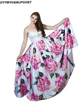 Elegant Prom Dresses Bigger Flower Print Satin Sweetheart Corset Back Floor Length Pearls Beading Prom Gowns