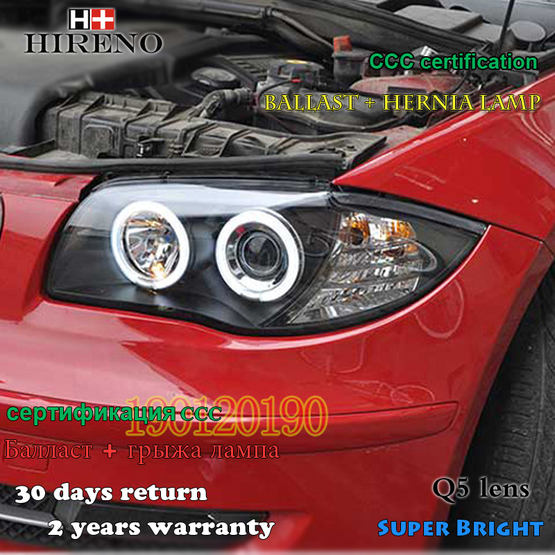 Hireno Headlamp for BMW E87 116i 118i 120i 125i Headlight Assembly LED DRL Angel Lens Double Beam HID Xenon 2pcs 2pcs purple blue red green led demon eyes for bixenon projector lens hella5 q5 2 5inch and 3 0inch headlight angel devil demon