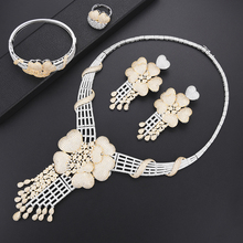 цена SisCathy New Trendy Big Flower Women Statement Jewelry Sets Wedding Cubic Zirconia Necklace/Earrings/Ring/Bracelet Jewelry Sets