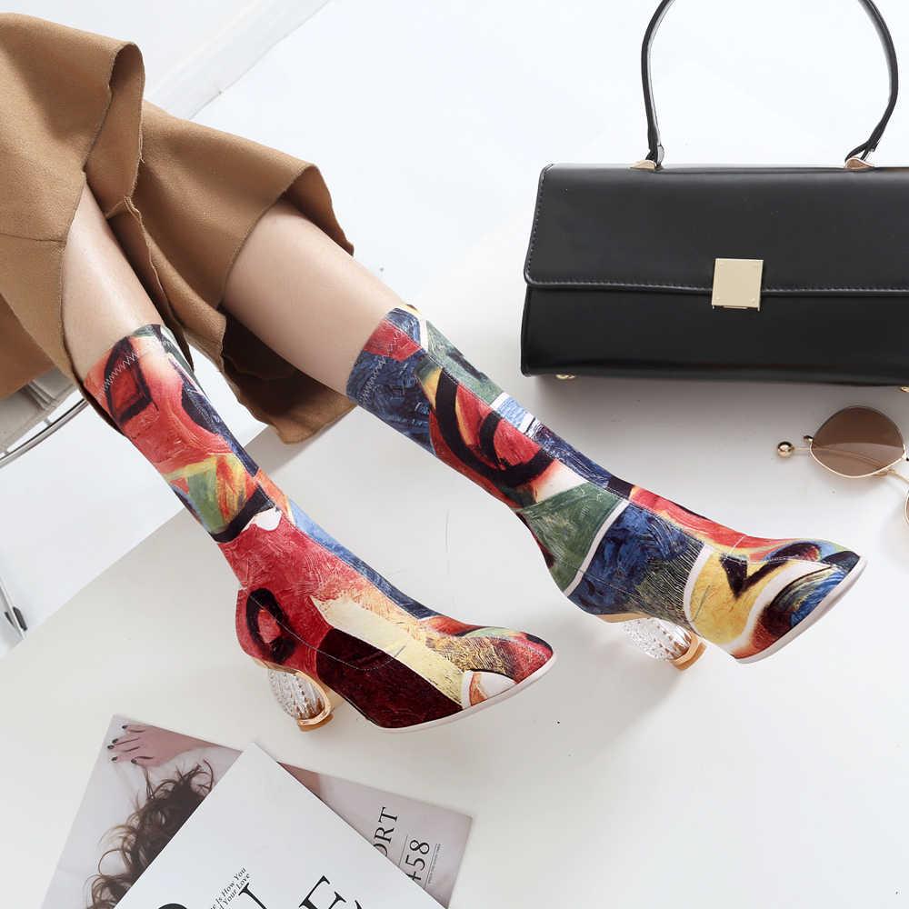 Ilkbahar Sonbahar Renkli çizim Diz Çizmeler üzerinde Kadın şeffaf şeffaf topuk yarım çizmeler kadınlar için 2018 Elastik Ayakkabı kadın
