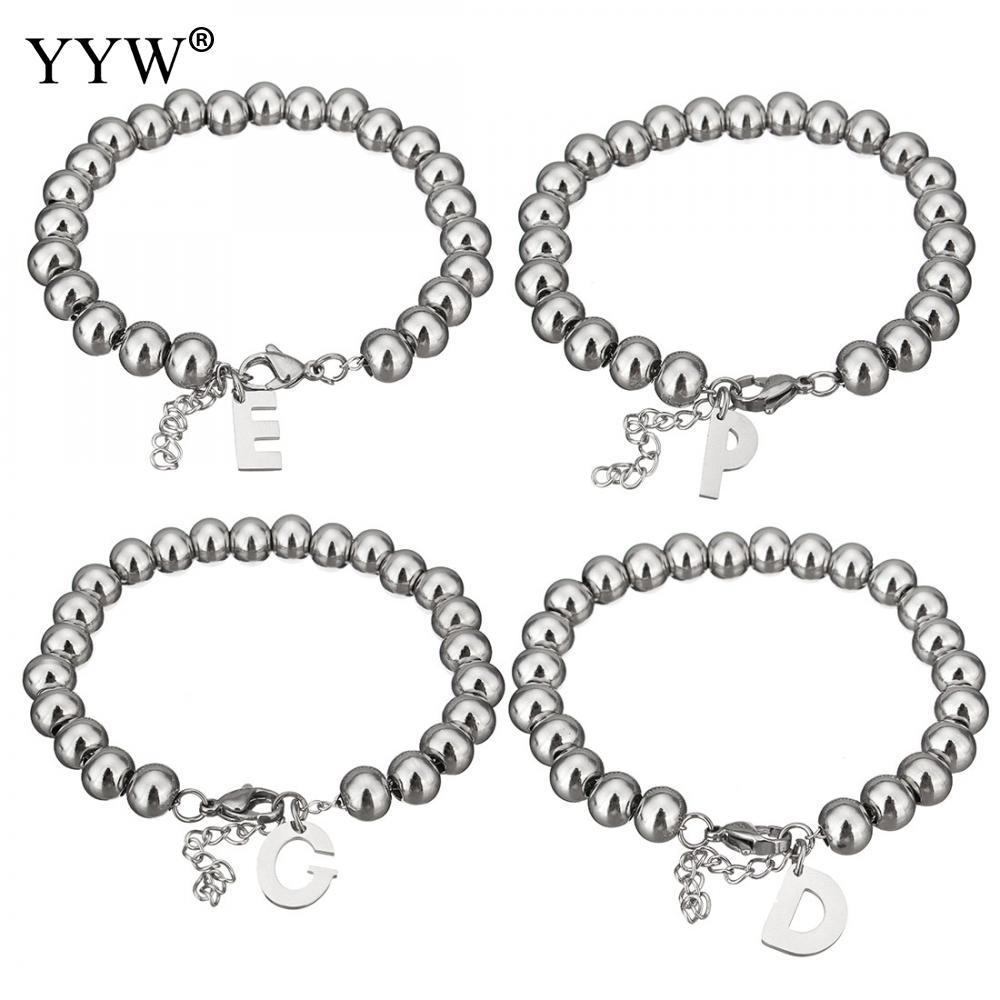A-Z Letter Stainless Steel Bracelets For Men Women Beads Bracelet & Bangles Fashion Little Accessories For Lovers Pulseiras