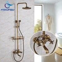 New Design Antique Brass Shower Faucet 8 Rainfall Shower Head Dual Handles With Shelf