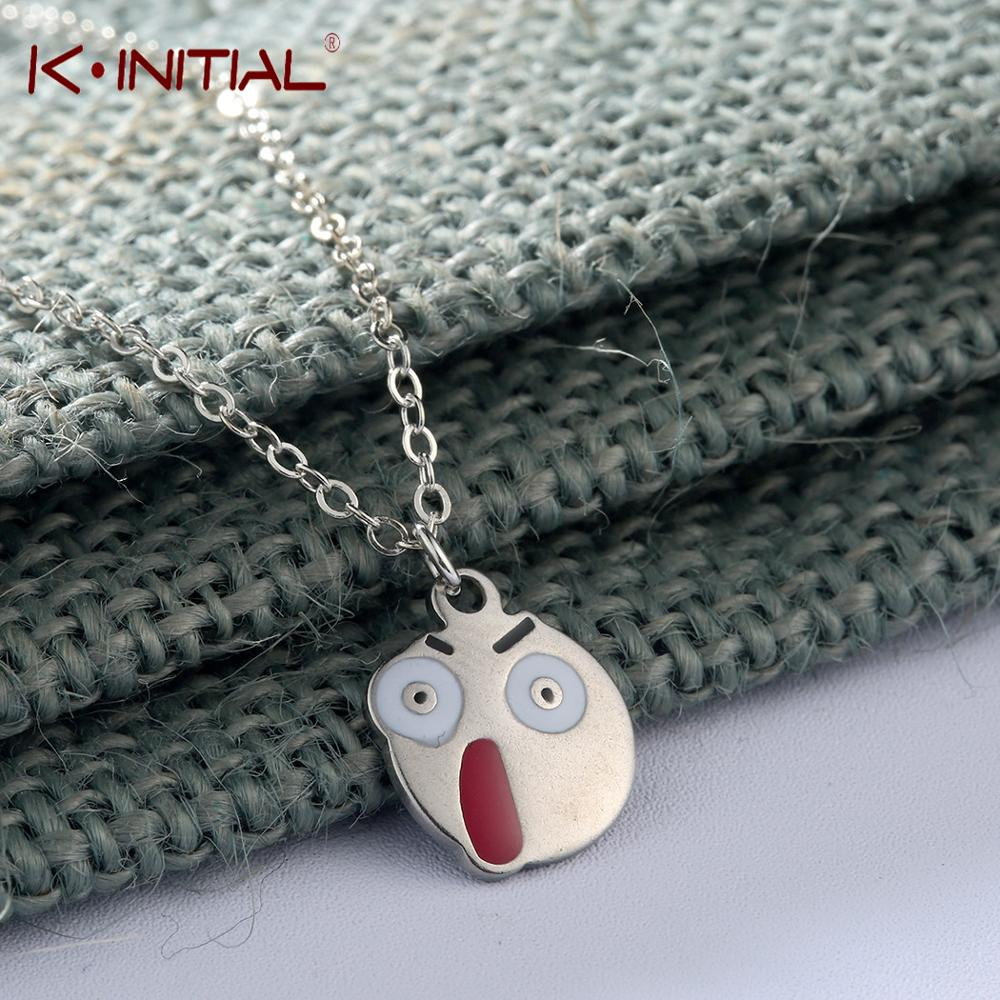 Kinitial New Surprised Expression Necklace Cute Stainless Steel Emoji Pattern Choker Long Pendant Necklace for Women Party Gift