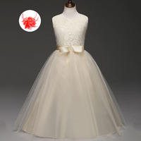 Children's Wedding Clothes Sky Blue Champagne White Red Lace Ball Christmas Evening Gowns for Kids Girls Prom Party Dresses