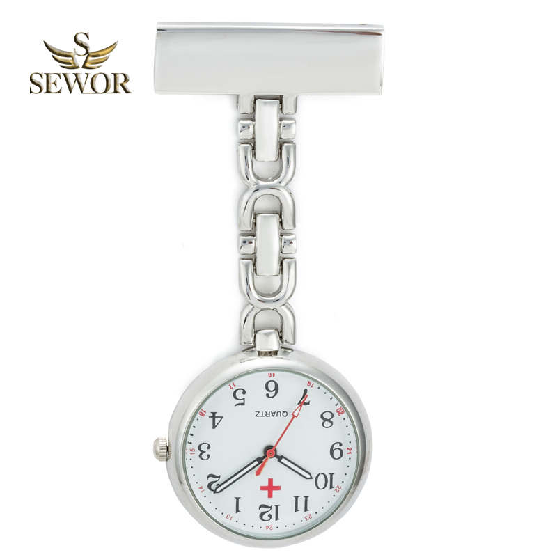 SEWOR 2018 Hot Fashion Nurse Table Pocket Watch with Clip Brooch Chain Quartz Pendant Watch Sliver C176