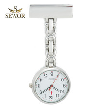 2017 SEWOR Hot Fashion Nurse Table Pocket Watch with Clip Brooch Chain Quartz  Pocket Watch Sliver C176