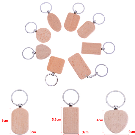 1PCS Natural Wood Bamboo Wooden Key Ring Keychain Round Square Heart Shape Anti Lost Wood Pendants Handmade Keychain image