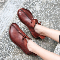 Big Toe Shoes Ladies 2018 New Nose Design Women' s Flat Shoes Genuine Leather Slip On Comfortable Female Flats