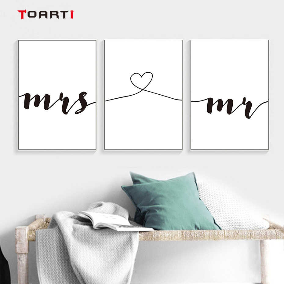 Mr Mrs Canvas poster and print simple words for couple room decor wall painting modern wall picture minimalist art chart murals