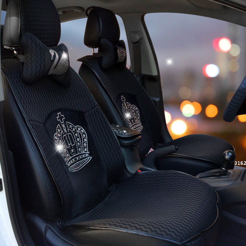 Crystal Crown Auto Seat Covers Fashion Diamond Crown Universal Car Seat Cushion Winter Interior Accessories Car Styling Women
