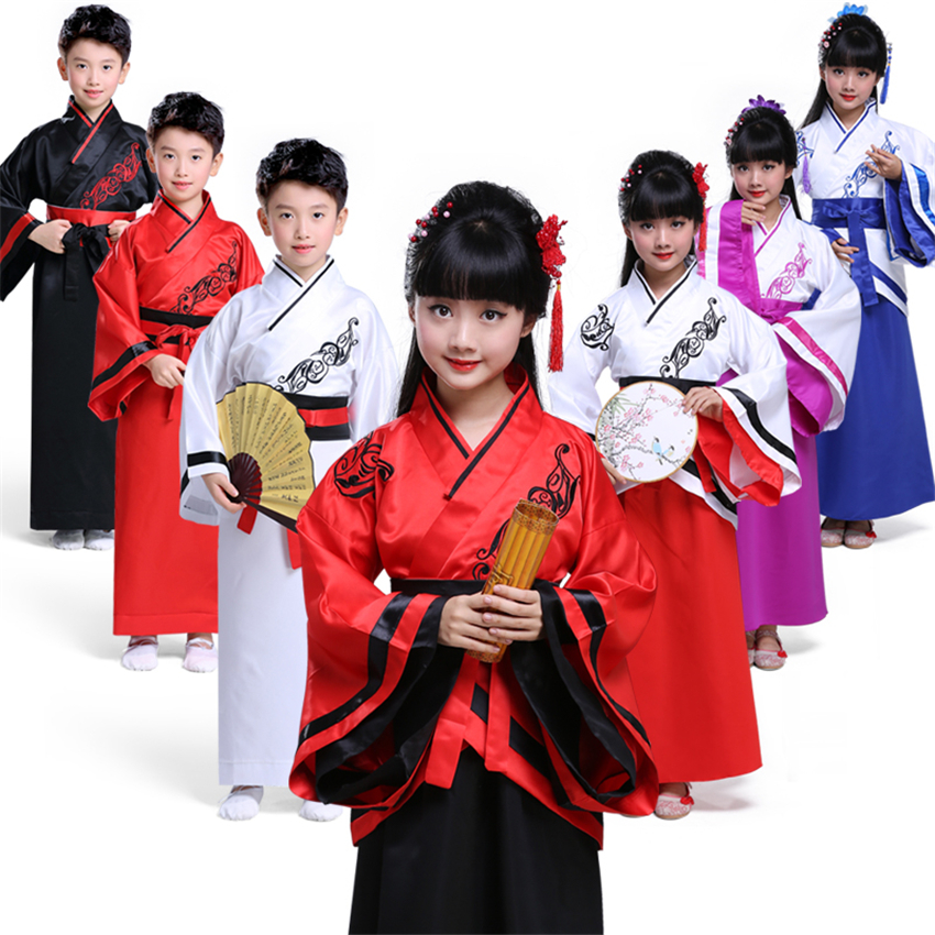 Chinese Style Girls Dress Tang Suit Hanfu New Year Kids Dance Performance Ancient Costumes Confucius Moral Classics Clothing