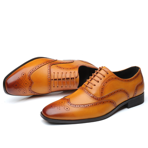 Image 2 - Leather Men Dress Shoes Formal Wedding Party Shoes For Men Retro Brogue Shoes Luxury Brand Mens Oxfords