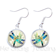 Dragon Fly Jewelry Cute Dragonfly 16mm Cabochon Glass Stone Pendant Glass Earring For Women Best Gift For Her(China)