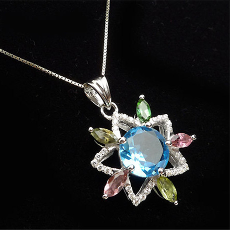 Fashion Silver Zircon Jewelry Pendant For Women Necklace Charm Flower Natural Colorful Tourmaline Quartz Crystal PendantFashion Silver Zircon Jewelry Pendant For Women Necklace Charm Flower Natural Colorful Tourmaline Quartz Crystal Pendant
