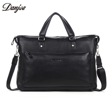 DANJUE Men Briefcase Genuine Leather Business Handbags Male Two Size 14/15inch Laptop Cowskin Daily Travel Bag
