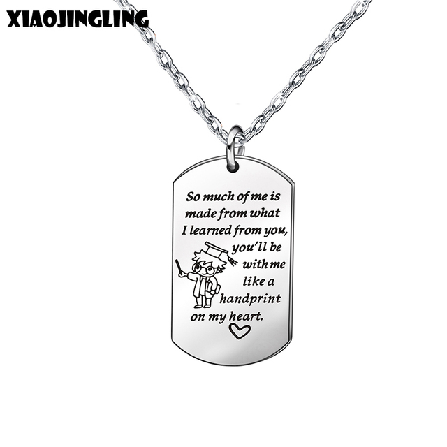 US $1 59 49% OFF XIAOJINGLING Dog Tag Pendant Necklaces Engraving Letters  Jewelry 2018 Teacher Stainless Steel Necklace Fashion Chains Collar-in