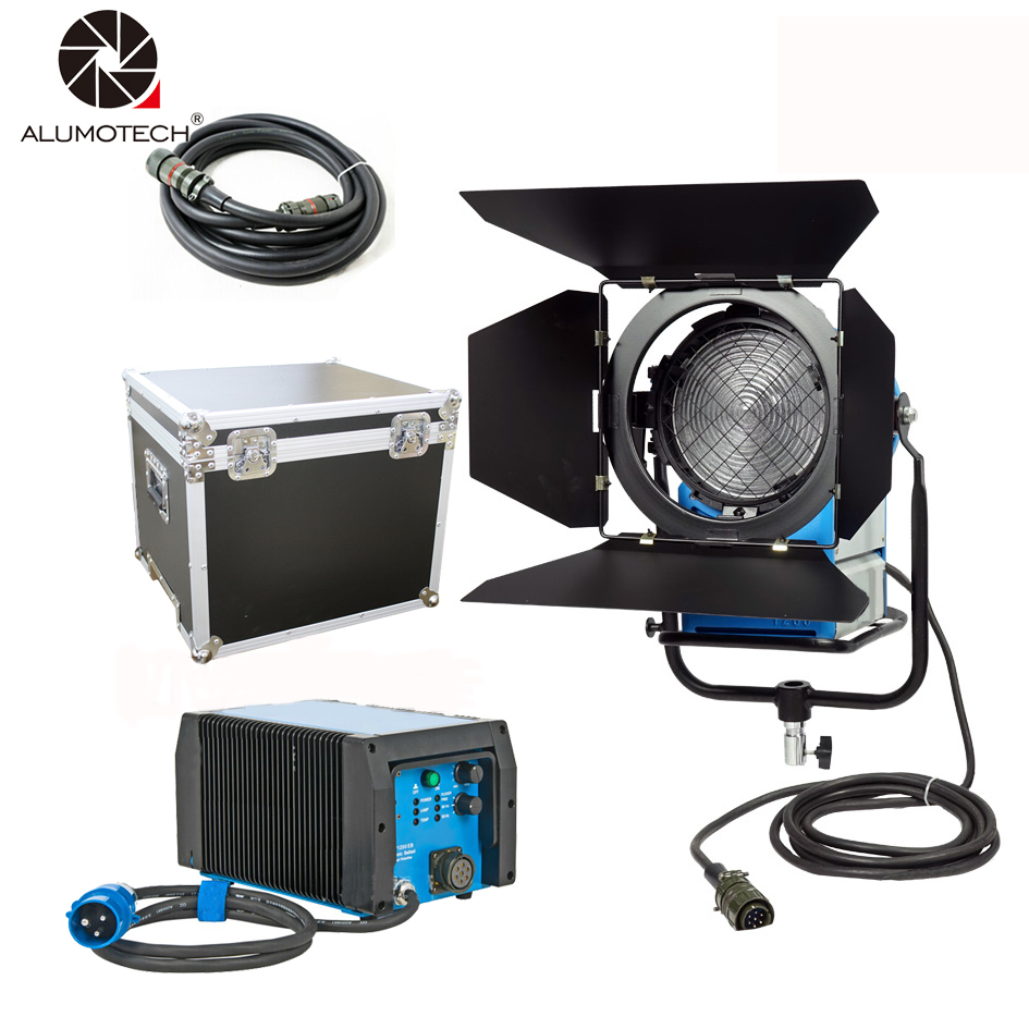 ALUMOTECH 100% Compatible ARRI 1200W HMI Fresnel Light + 575W & 1200W Ballast flicker-free cheap dimmable 1200w hmi fresnel light daylight electronic ballast with case lighting film for movie light sdutio lighting