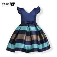 TEAEGG V Neck Striped Retro Ball Gown Short Sleeve Princess Girls Party Banquet Dresses Blue Brown