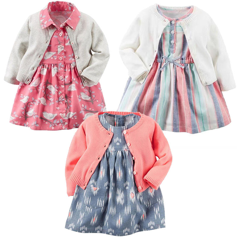 цены 2017 new arrival baby girl clothes set 3pcs cardigan + dress + panties 100% Cotton baby born cloth infantil clothing long sleeve