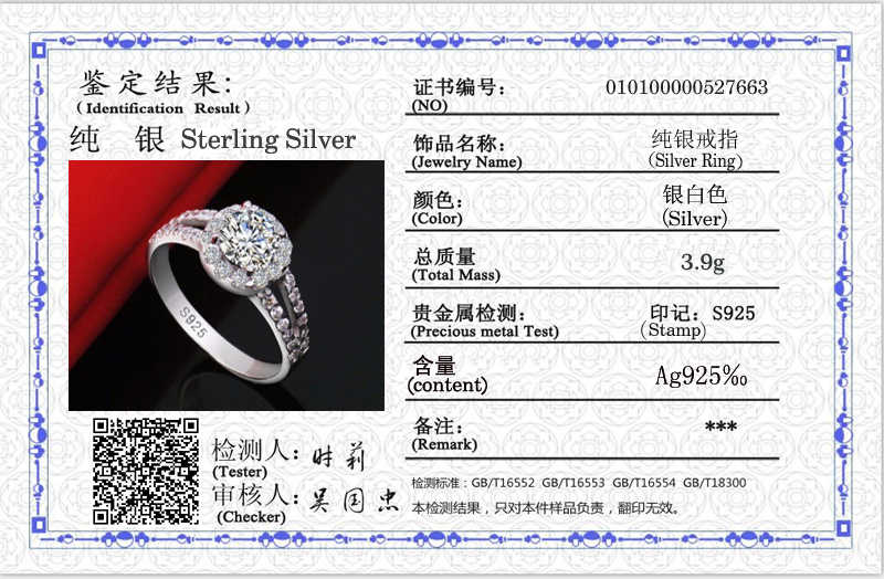 Sent Certificate! Fine Jewelry 925 Solid Silver Wedding Rings for Women Round 8mm 2 Carat Cubic Zirconia Engagement Rings CR510