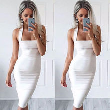 Women Ladies Summer Party Evening Beach Dress Sundress Sexy Sleeveless Halter Backless Knee-Length