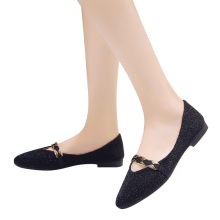 ladies shoes platform Women Sequins Shallow Slip On Low Heel Flat Party Pointed Single Shoes#NFA(China)