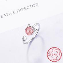 Женское кольцо из серебра 100% пробы с кристаллом в виде кошки