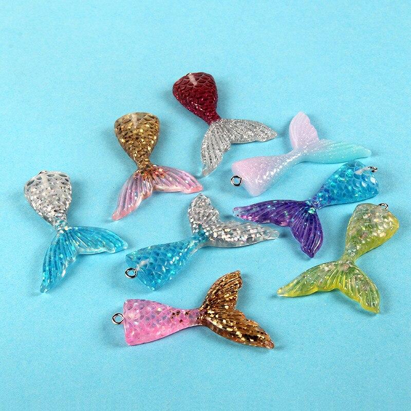 10pcs Blue Mermaid Princess Charms Bead Pendant DIY Necklace Jewelry Making