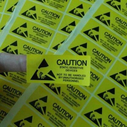 1000pcs Anti - Static Label Sticker 2.5x5.5cm CAUTION Sticker Adhesive Label For ESD Anti-Static Sensitive Device