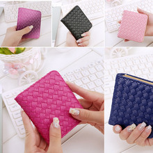 New Women's Fashion Classic Woven Design Wallets With Card Case High Quality PU Leather Short Purse LT88