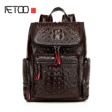 AETOO 2016 new shoulder bag female leather bag European and American fashion backpack head layer of leather crocodile pattern недорого