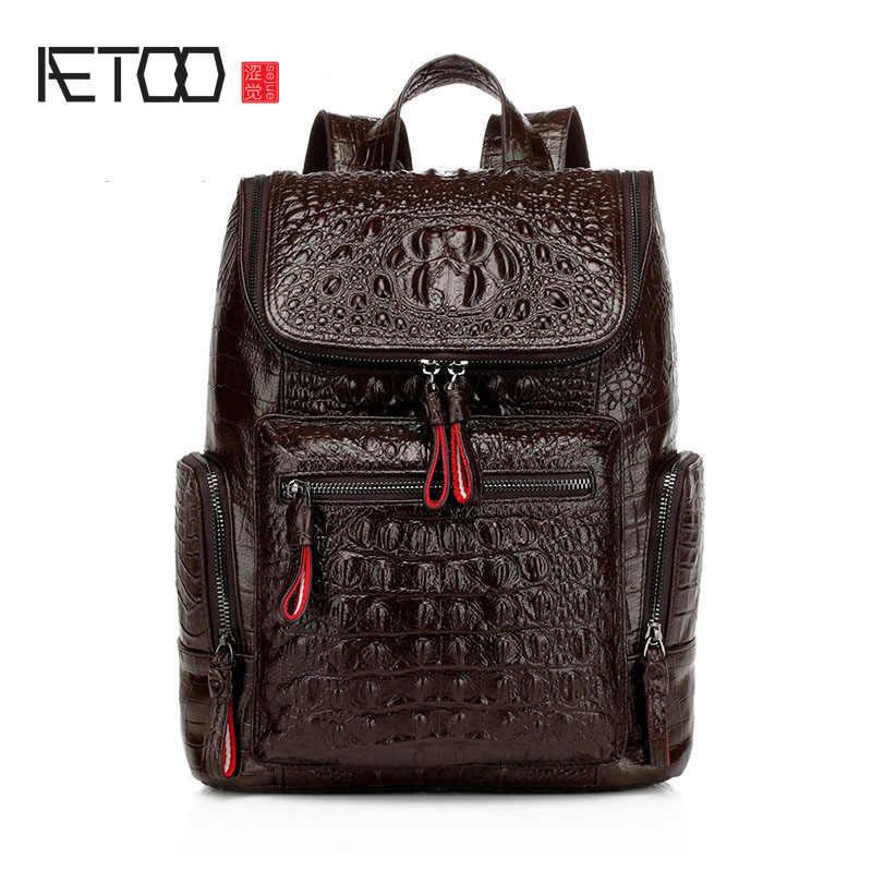 dc831dfeb88b AETOO 2016 новая сумка женская кожаная сумка Европейская и американская  мода рюкзак голова слой кожи крокодил