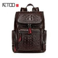 Aetoo новинка 2016 Сумка женская кожаная сумка европейской и американской моды рюкзак головы слой кожи с узором «крокодиловая кожа»