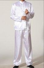 Weiß Chinesischen männer Polyester Satin jacke Hose Kung Fu Anzug Pyjama-sets GRÖßE S M L XL XXL XXXL M0010