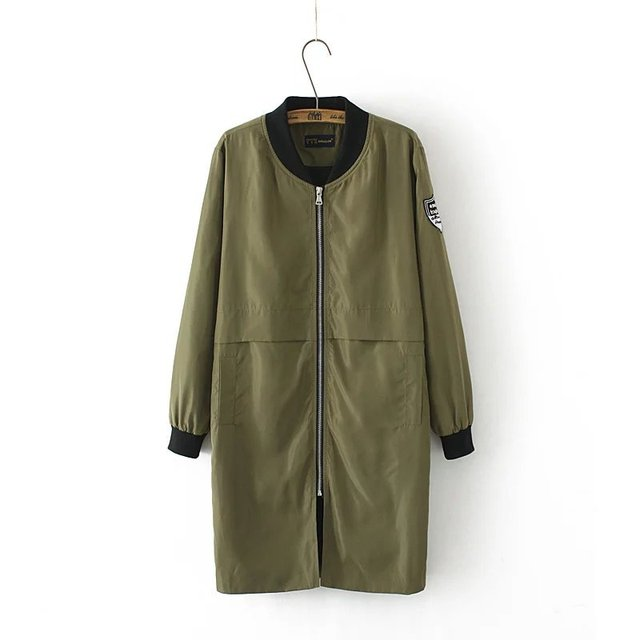 New Europe Long Windbreaker Female Fashion Mandarin Collar Zipper Wide-waisted Trench Coat For Women T1649