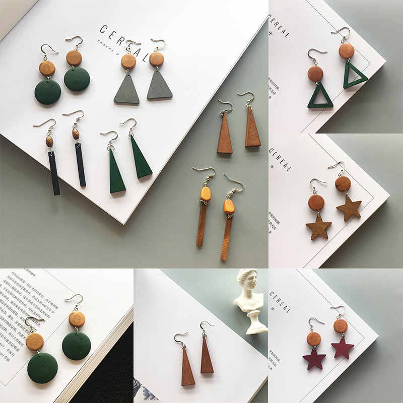 Unique Retro Wood 1Pair Long Tassel Simple 17 Colors Gifts Beautiful Geometric 2019 New Arrival Drop Earrings Star Party