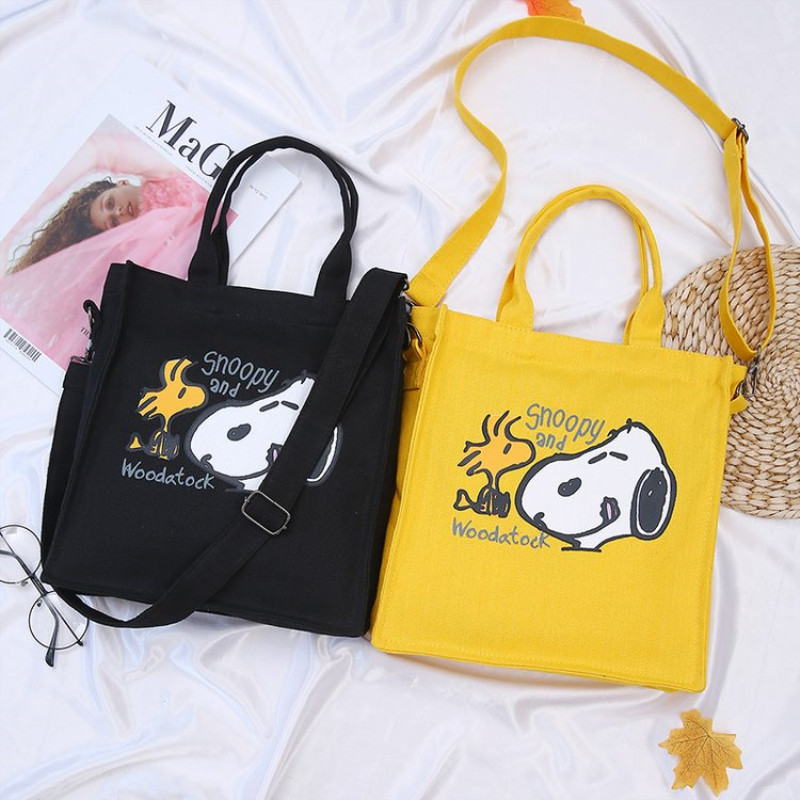 Messenger-Bag Hand-Bags Canvas Shoulder Female Snoopy School Summer Fashion Cartoon Simple