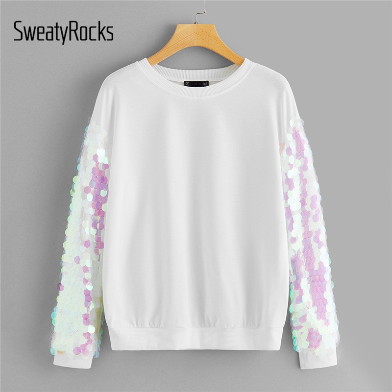 SweatyRocks Contrast Sequin Fashion Pullover Tops Streetwear Women O-Neck White Clothes 2019 Spring Casual Korean Sweatshirts