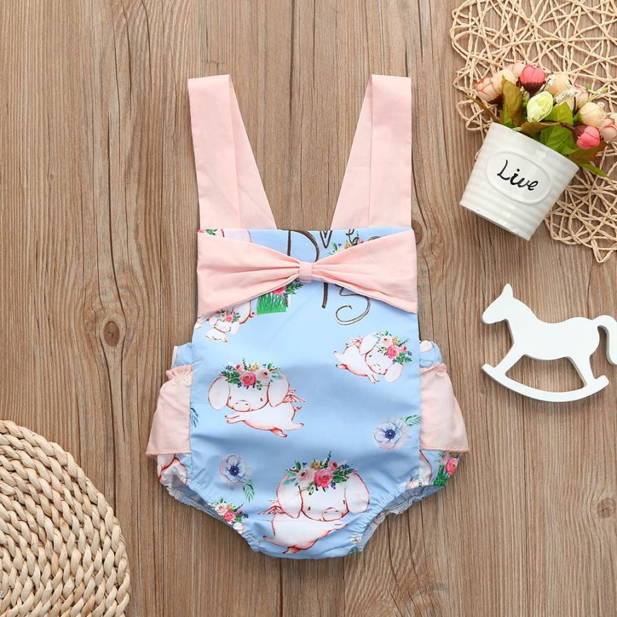 MUQGEW Newborn Toddler Baby Girls Cartoon Print Bowknot Strap Romper Jumpsuit Outfits children clothing roupa de beb baby Cloth