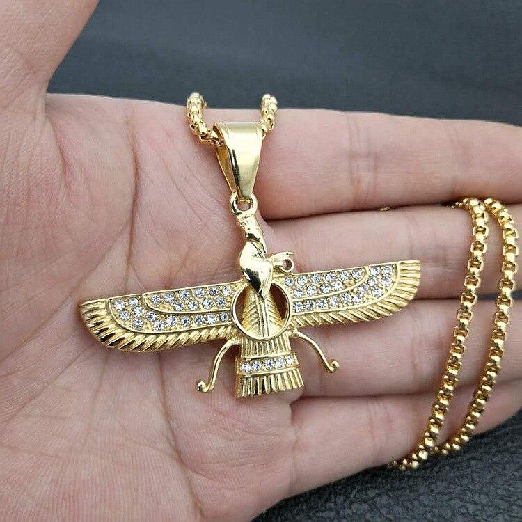 Hip hop strass pavimentado bling gelado para fora irã faravahar ahura mazda zoroastrian pingente colar ouro aço inoxidável masculino jóias