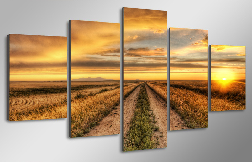 5 pcs ready to hang hd printed country road at sunset for Wall art pictures